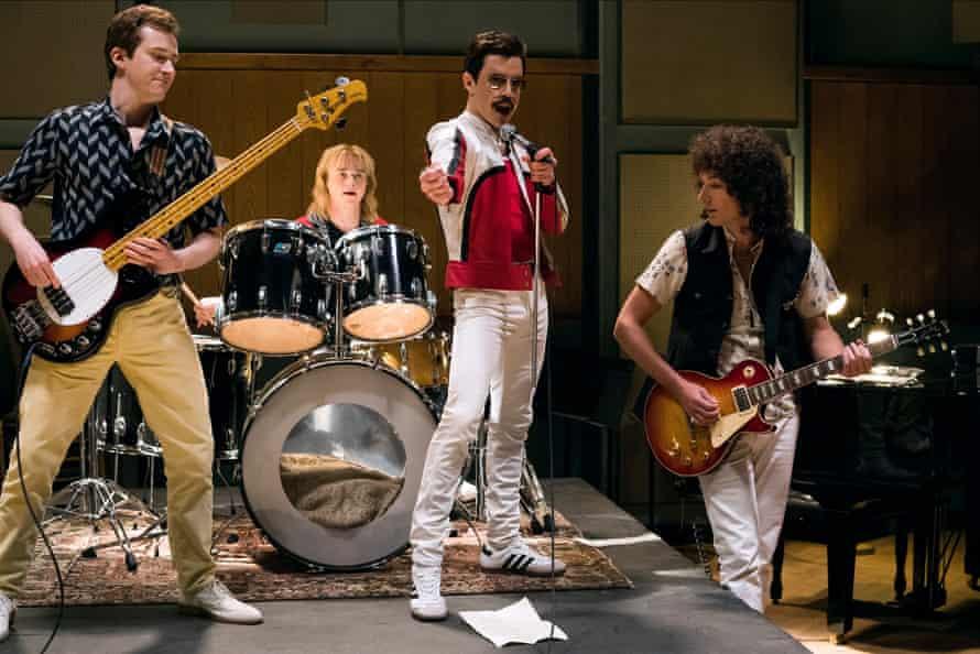 Joseph Mazzello, Ben Hardy, Rami Malek and Gwilym Lee in the 'bland' Bohemian Rhapsody.