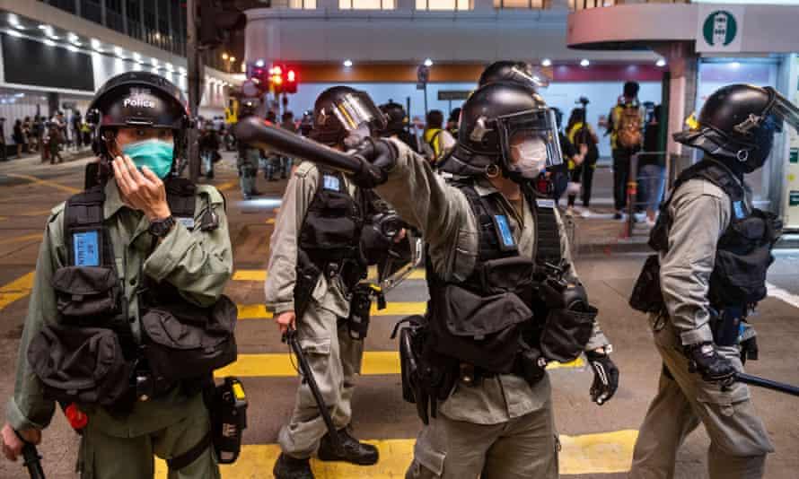 hong kong police on streets