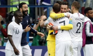 French players celebrate at the end of their win over Uruguay.