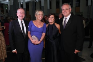 Bill Shorten, Chloe Shorten, Jennifer Morrison and Scott Morrison arrive for the press gallery's Midwinter Ball in the great hall of Parliament House, Canberra, on Wednesday