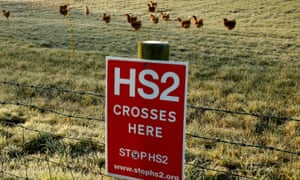 Opposition to HS2, in the form a a sign on a fence near the village of Lymm, Cheshire