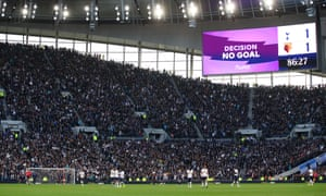 The big screen shows the wrong information after a VAR check which was given as a goal for Spurs.