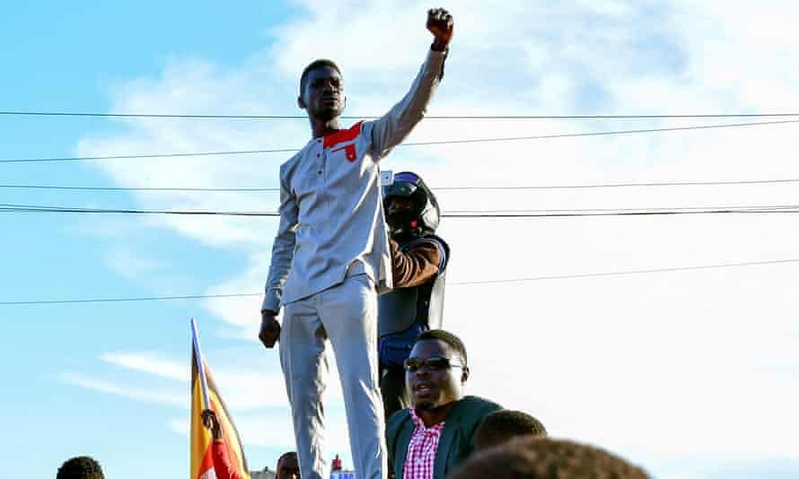 Bobi Wine campaigns near Kampala, Uganda.