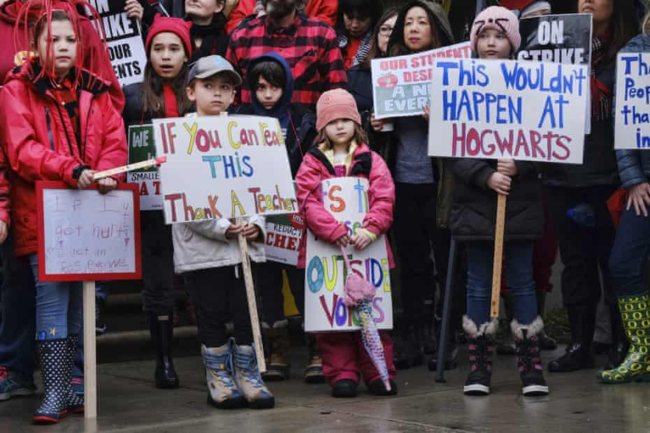 Elementary students stand in support of a teachers' strike in Los Angeles this week.