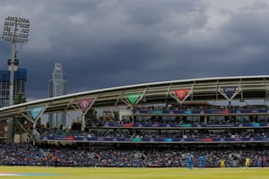 Dark skies gather over the Oval.