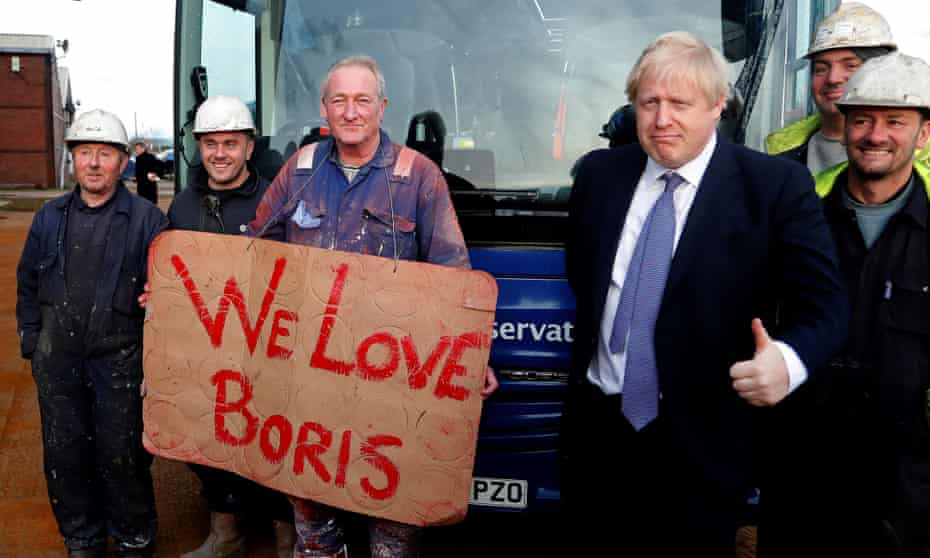 Boris Johnson meets workers from Wilton Engineering Services in Middlesbrough while on the 2019 campaign trail.