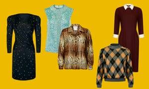 Perfect for this season … from left: 80s-style dress, £34, and sequinned top, £28, both at Beyond Retro. Tiger print blouse, £30, and argyle sweater, £28, both Rokit. Dress, £29, Beyond Retro.