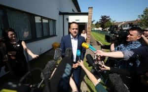 The taoiseach, Leo Varadkar, speaks to the media after casting his vote in Castleknock, Dublin