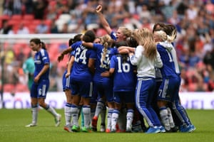 The Chelsea players celebrate.