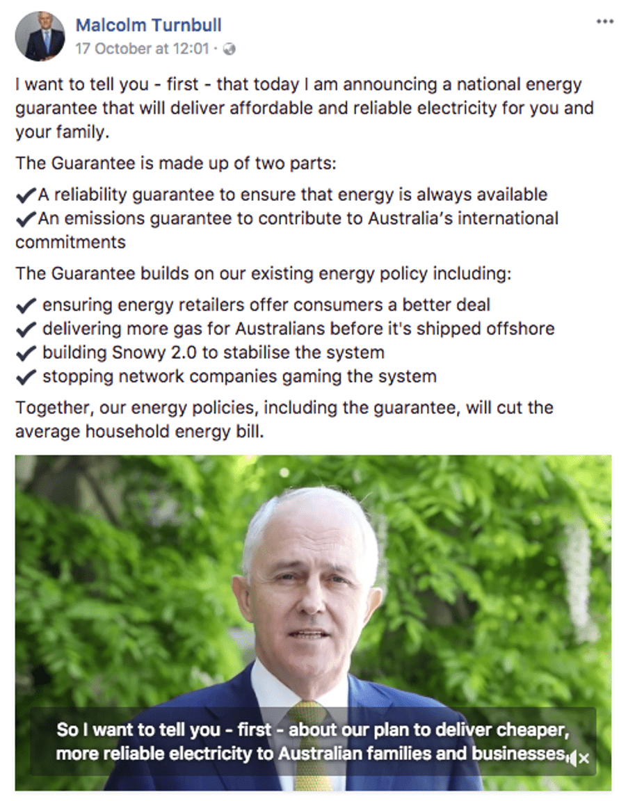 The post from Malcolm Turnbull's Facebook page that was sponsored and targeted to users from Australia over 25 and interested in 'family'