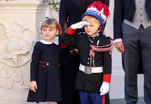 Monte Carlo, Monaco. Prince Jacques salutes next to Princess Gabriella during the celebrations marking National Day