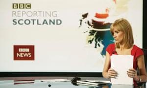 BBC Reporting Scotland presenter Jackie Bird prepares for the lunch time bulletin BBC Scotland's headquarters at Pacific Quay, Glasgow, Scotland.