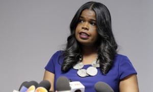 Kim Foxx speaks at a news conference in Chicago, Illinois, on 22 February.