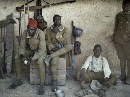 Senegalese soldiers serving in the French army on the western front in June 1917.