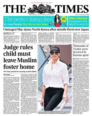 The Times front page on Wednesday.