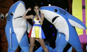Katy Perry, flanked by her dancing sharks during the Super Bowl halftime show.