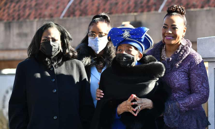 Martin Luther King's family at a memorial service for the late civil rights leader in Atlanta, Georgia.