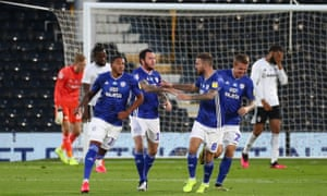 Lee Tomlin of Cardiff City celebrates after scoring his sides second goal.