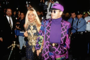 Elton and Donatella Versace on in 1991 in New York.