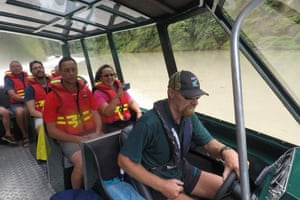 Ken Haworth drives a jet boat on the Whanganui