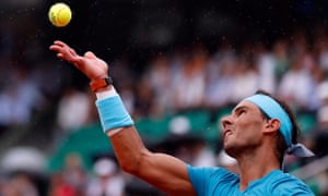 Rafael Nadal lost the first set against Diego Schwartzman but was ahead in the second when rain forced them off.