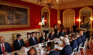 Theresa May with members of her cabinet and their Polish counterparts at the the UK-Poland Inter-Governmental Consultations at Lancaster House earlier today.