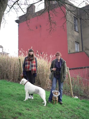 Rhiannon Lucy Cosslett and Michele Hanson walking Michele's dogs
