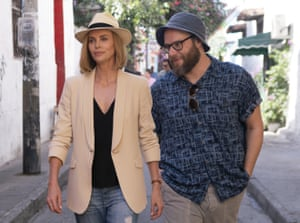 Charlize Theron and Seth Rogen in Long Shot.