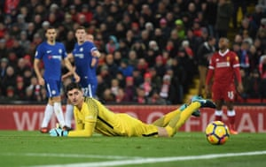 Thibaut Courtois watches the ball after he allowed it to go through his hands.