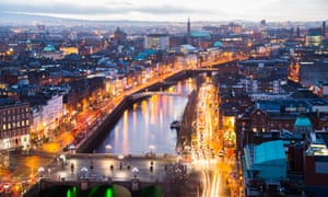 A view over O'Connell Bridge and Dublin.