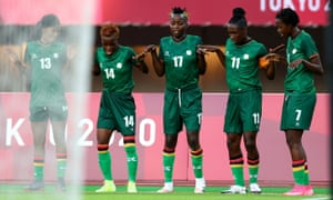 Barbara Banda (second right) is joined by her teammates Martha Tembo (left), Ireen Lungu, Racheal Kundanaji (centre) and Lubandji Ochumba Oseke (right) after scoring Zambia's third goal and completing her hat trick.