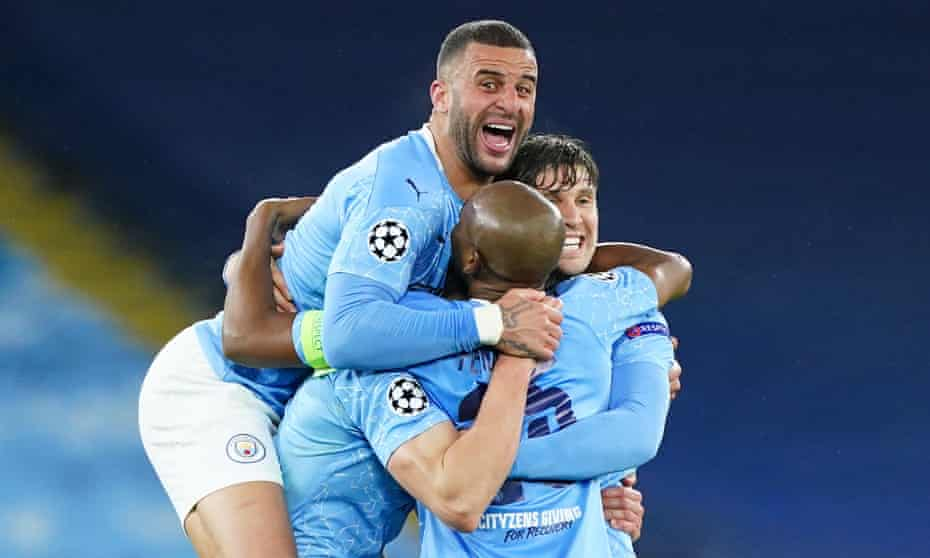Kyle Walker leaps on to join Manchester City's celebrations after reaching the Champions League final with victory over PSG.