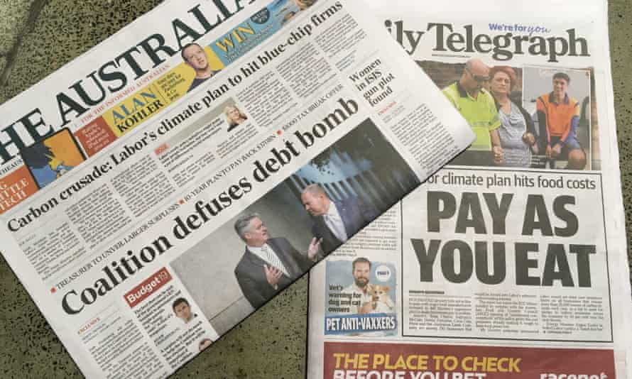 Ahead of budget 2019, the front pages of the Australian and the Daily Telegraph newspapers on 2 April feature a barrage of negative stories about Labor's climate change policy.