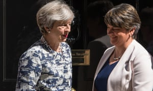 Theresa May with DUP leader Arlene Foster after reaching the £1bn deal with the Democratic Unionist party to prop up her minority government.