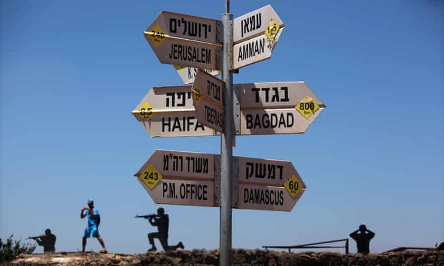 A signpost in the Golan Heights, Israel