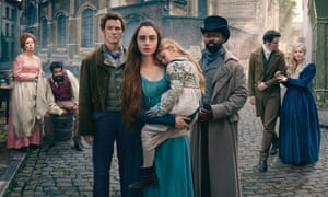 The miserables ... (from left) Olivia Colman, Adeel Akhtar, Dominic West, Lily Collins, David Oyelowo, Josh O'Connor and Ellie Bamber.