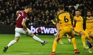Marko Arnautovic scores his and West Ham's second goal in the 2-2 draw with Brighton