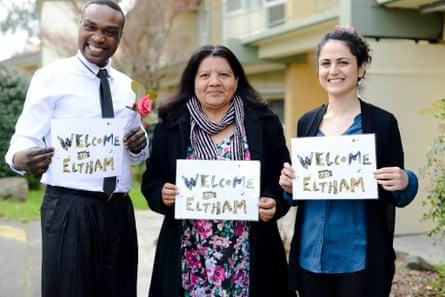 CatholicCare refugee settlement team from the 'Eltham Project': (L-R) Lowilla Olak Okello, Tomasa Ruiz and Nastaran Yousefi Sedigh.