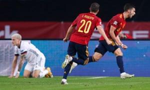 Ferran Torres celebrates Spain's second.