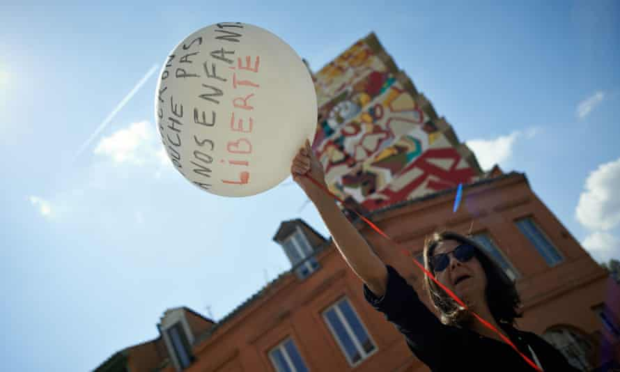 A protest against the health pass in Toulouse. While Macron faces noisy protests each week, his approval rating has risen over his handling of Covid.
