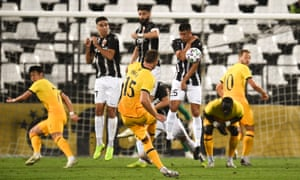The Tottenham midfielder Eric Dier takes a free-kick during the Europa League second-round qualifying tie against Lokomotiv Plovdiv.