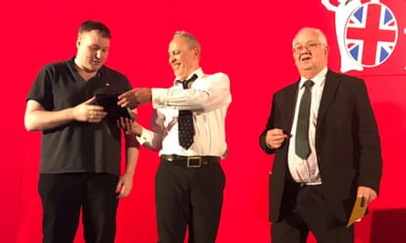 """Danny (left) and Simon (centre) collect the Features Journalism award at the British Journalism Awards earlier this month. The judges described their work as """"gripping accounts of the deaths of homeless people"""" and a """"beautiful series of articles""""."""