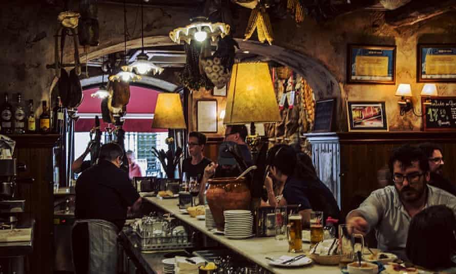 Crowded bar area at Mesón Cumbres Mayores, Cadiz, Spain.