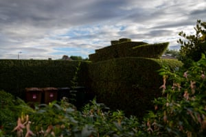 A hedge cut into the shape of an Oceanliner in the Trinity, North Edinburgh.