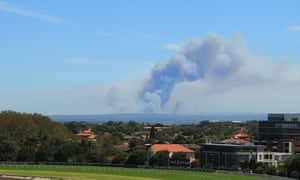 The bushfire burning south of Sydney as seen from the Royal Randwick racecourse on Saturday