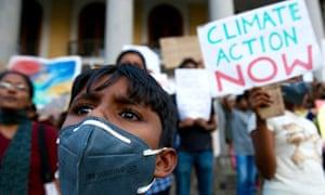 A climate emergency protest in Bangalore, India