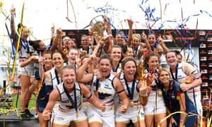 The first AFLW premiers the Adelaide Crows celebrate winning the grand final game against Brisbane Lions at Metricon Stadium in Carrara on the Gold Coast