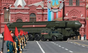 Russian ballistic missiles roll along the Red Square during a rehearsal of the Victory Day military parade in Moscow.