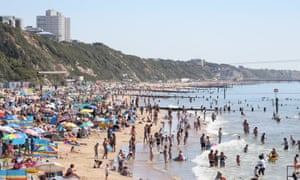 Crowds on the beach at Bournemouth on Friday.