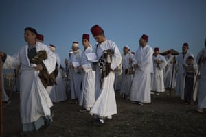 Nablus, West Bank: Members of the ancient Samaritan community pray to mark the end of the Passover holiday on Mount Gerizim